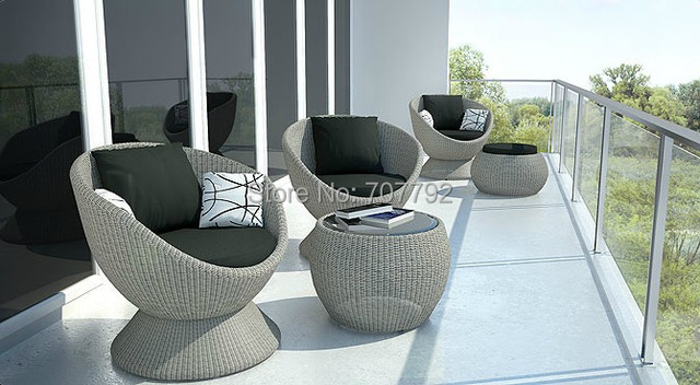 New Design Outdoor Furniture Rattan Wicker Comfort Egg Chair Set