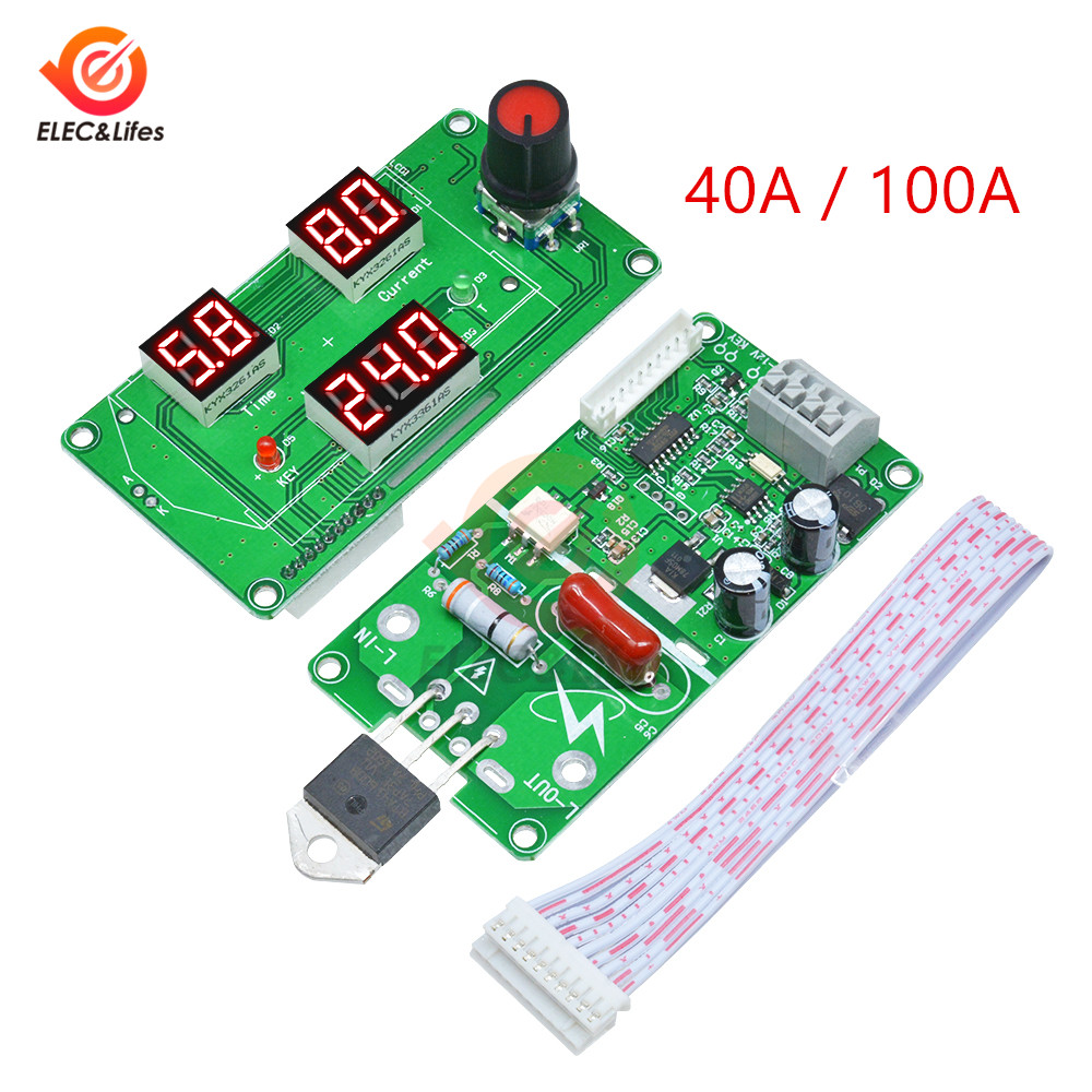 100A 40A LED Electronic Digital Tube Single Pulse Spot Welder Control Module Trigger Switch For DIY Battery Welder PNP ON Switch