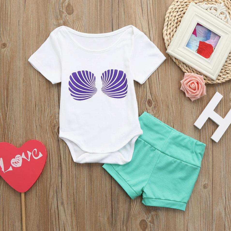 Girls Clothing Set 2018 infant girls summer Clothes Set Kid Clothes Children Clothing Toddler Girl Shell Print Rompes+Short Pant
