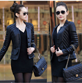 2014 new women's large size Korean Ladies Fashion Slim Short stitching leather jacket Free Shipping M-5XL