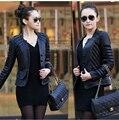 2014 nuevas mujeres de gran tamaño de corea moda delgado corto chaqueta de cuero de costura envío gratis M-5XL