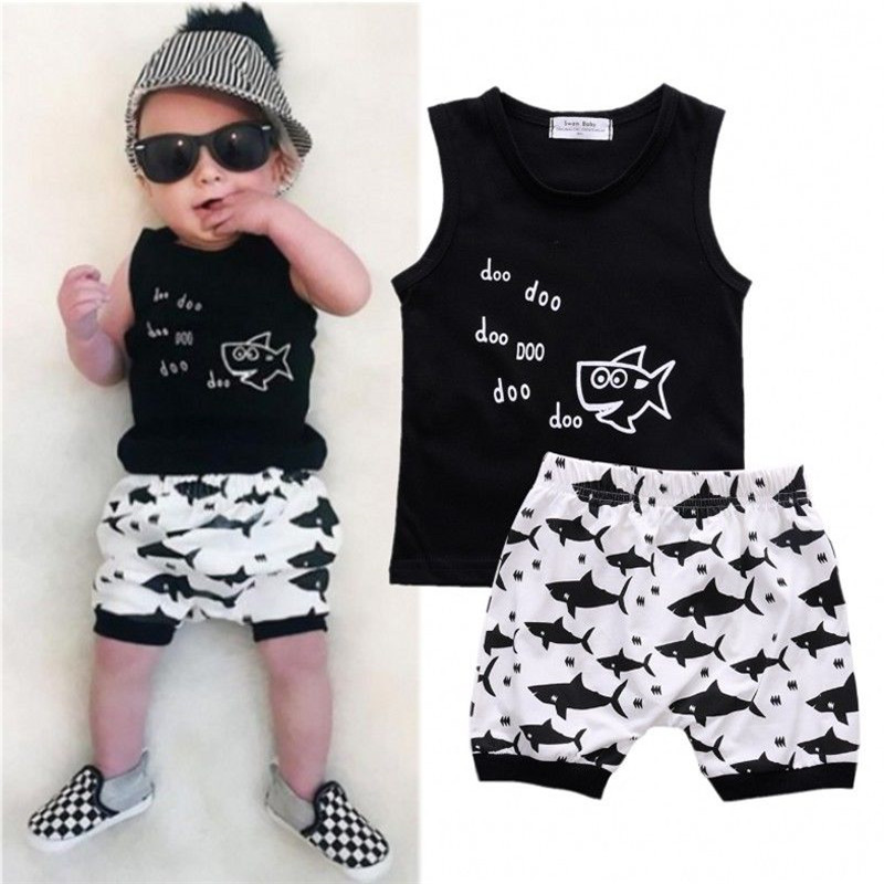 2017 new hot summer cartoon printing shark baby clothing set fashion hot sleeveless T-shirt and high waisted shorts for summer
