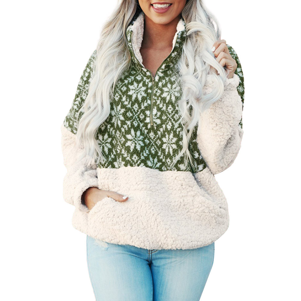 New women Christmas sweatershirt Printed Patchwork Fluffy Stand Sweatshirt Pocket color printing Jumper Outwear Pullover coat