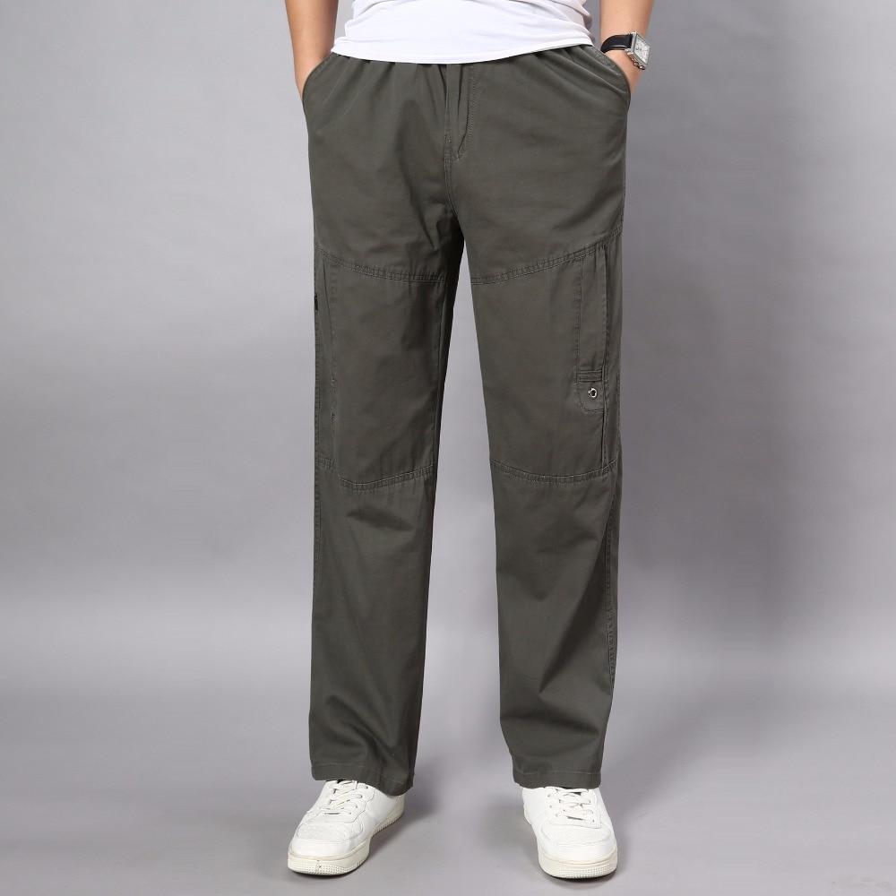 Autumn Summer Plus Size L-5XL Mens Joggers Casual Loose Pants Men Cargo Pants Multi Pocket Full Length Cotton Man Work Trousers ...