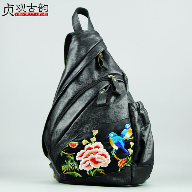 Unique The First Layer Cowhide Lady Backpack Women Crossbody New Yunnan Technician Leather National Retro Female Bagpack 19 Bag