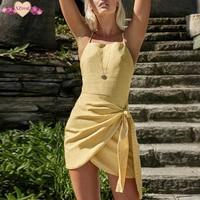 Sexy Short Bandage Beach Dress Backless Summer Boho Sundress Women Bohemian Spaghetti Strap Irregular Off Shoulder