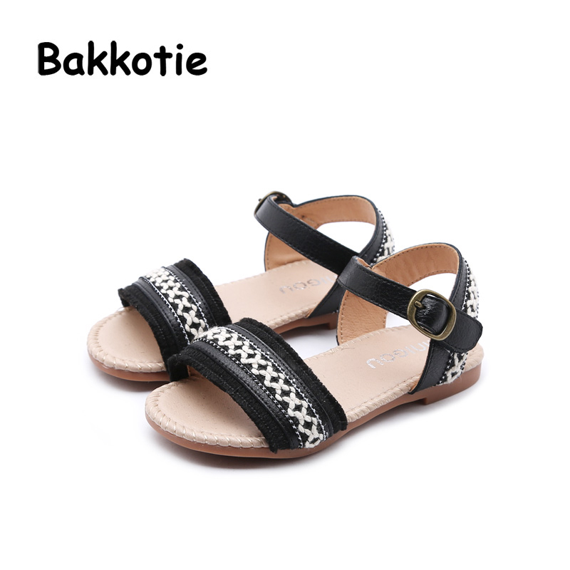 Bakkotie 2018 New Fashion Summer Baby Girl Weave Brand All-match Pearl Sandal Child Pink Leaf Cute Flats Little Kid Black Shoes