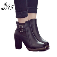 Fashion Classic Sexy Women Shoes Thick High Heel Double Buckle Knight Ankle Boots Elastic Zip Bootie