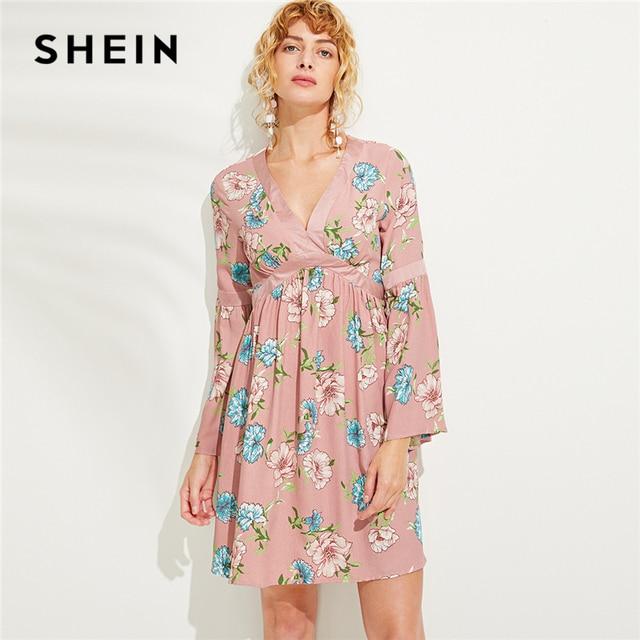 337ce7e22adc0 SHEIN Pink Vacation Boho Bohemian Beach Zip Back V Neck Floral Button Trim  Flounce High Waist Dress Autumn Women Casual Dresses