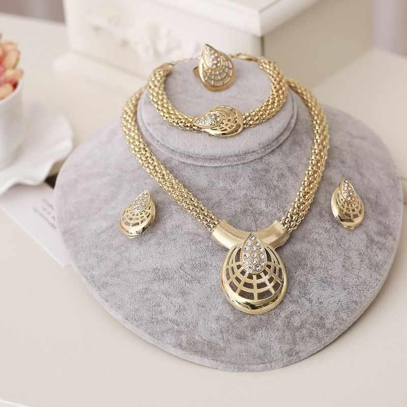 Dubai Gold Schmuck Sets Nigerian Hochzeit Afrikanische Perlen Kristall Braut Schmuck Set Strass Äthiopischen Schmuck parure