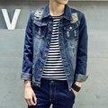Хип-хоп мужская джинсовая куртка clothing весна лето разбитое отверстие джинсы дизайнер разорвал джинсы куртка проблемные джинсы coatsMT17006