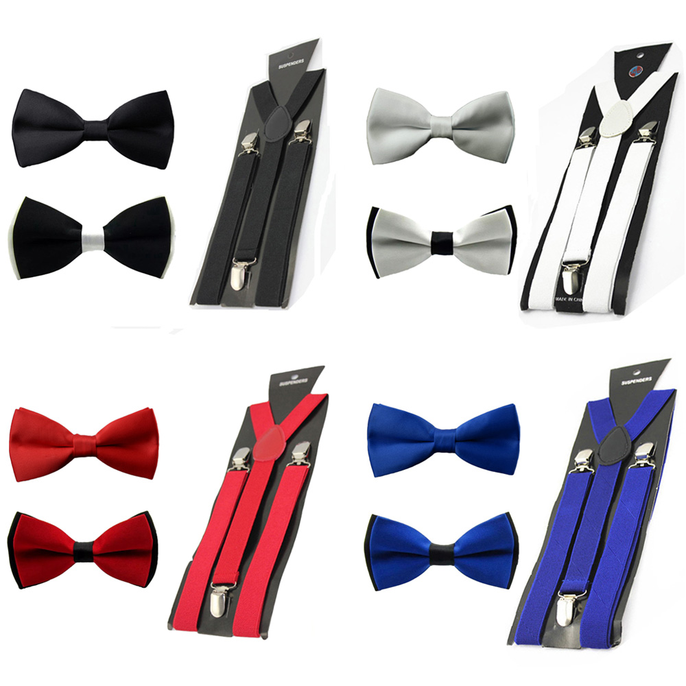 Men Solid Pre-tied Bowtie Bow Tie Elastic Y-Back Suspender Clip On Brace Set BWSET0305