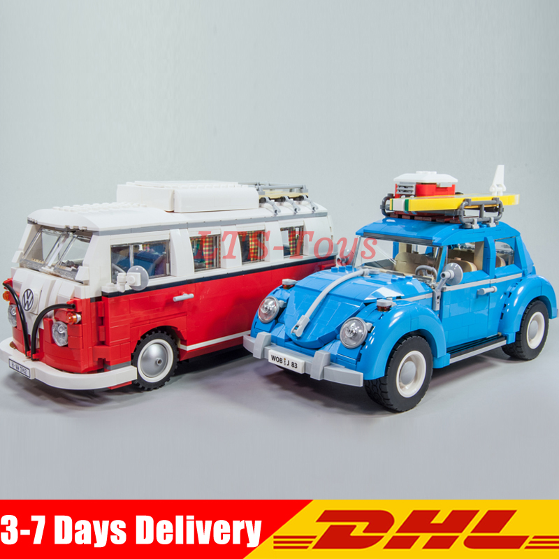 LEPIN 21001 Volkswagen T1 Camper Van +21003 Beetle Car Model Building Blocks Car Collection Toy Compatible 10020 10252 2018 lepin 21003 technic series city car beetle model educational building blocks compatible legoing 10252 toy as children gift