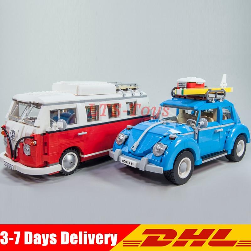 LEPIN 21001 Volkswagen T1 Camper Van +21003 Beetle Car Model Building Blocks Car Collection Toy Compatible 10020 10252