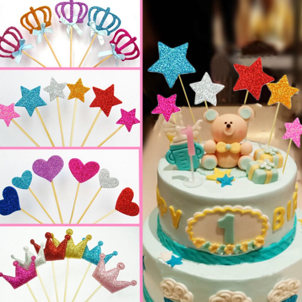 Party Supplies DIY Craft Cupcake Toppers Glitter Star /& Heart Cake Decor Picks