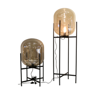 wongshi Modern Smoky Amber Glass Floor Lamp Retro Melon Floor Lights Fashion Design Glass Table Lamps for Living Room