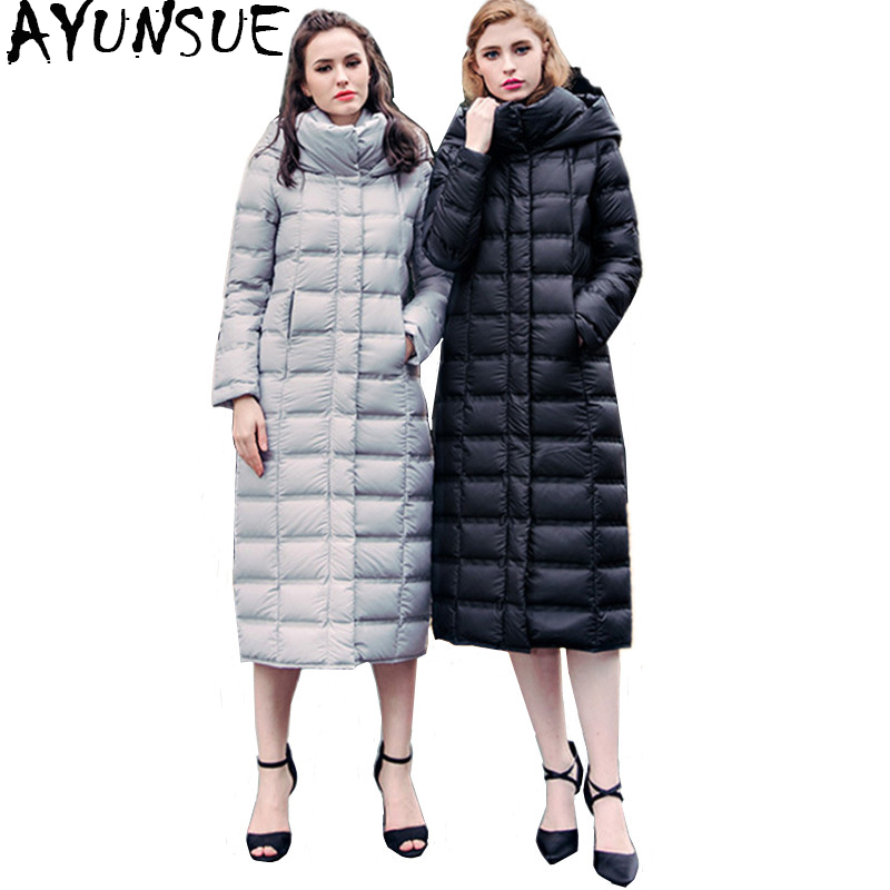 AYUNSUE Women's   Down   Jackets Winter Warm White Duck   Down     Coat   Female Jacket Long Hooded Parka Clothes 2018 doudoune femme WYQ756