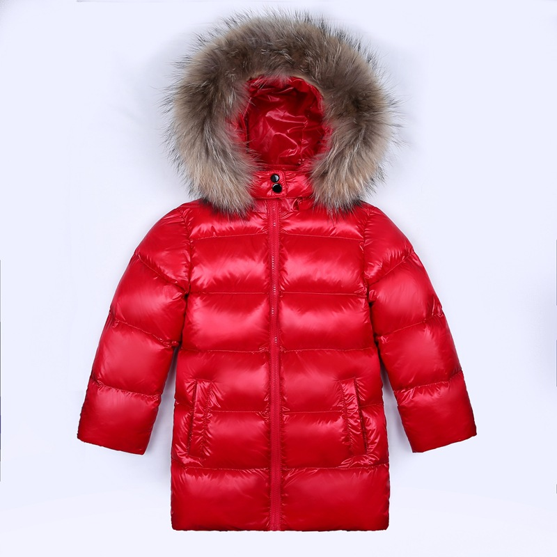 Brand Boys Girls Duck Down Jackets For Cold Winter Children Thick Parkas Girl Fur Collar Outerwear & Coats -30 Degrees