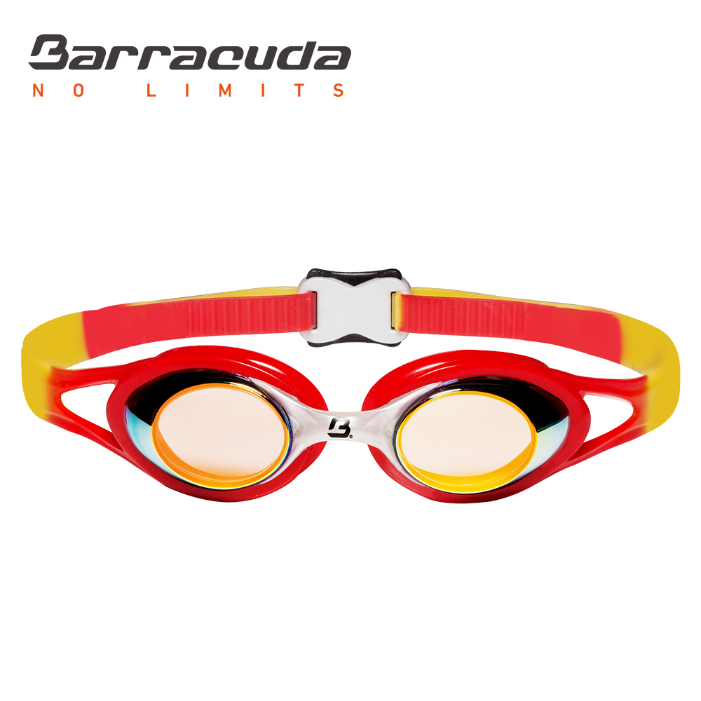 Barracuda Junior Swim Goggle CARNAVAL Mirror Lenses Anti-fog UV Protection Anti-glare Silicone Seals Strap for Kid ORANGE #34710