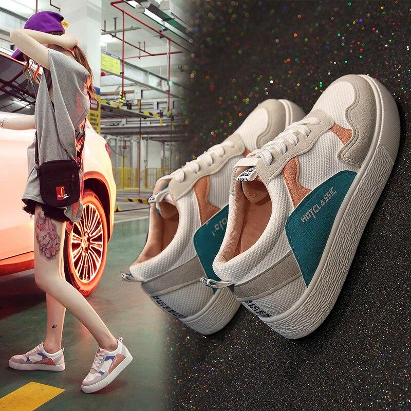 Sycatree/Новинка 2018 года; популярная повседневная обувь в Корейском стиле для женщин; Студенческая дышащая обувь на плоской подошве для девочек