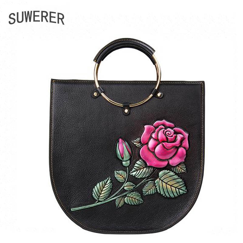 SUWERER 2019 New women genuine leather bag brand Designers Embossed top cowhide tote women leather shoulder bag