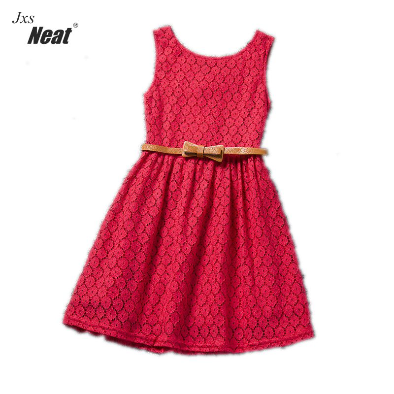 2016 Retail children Clothing lace girls dress summer Sleeveless Cute sweet  Bow Baby Kids pretty Dresses girls clothes A007