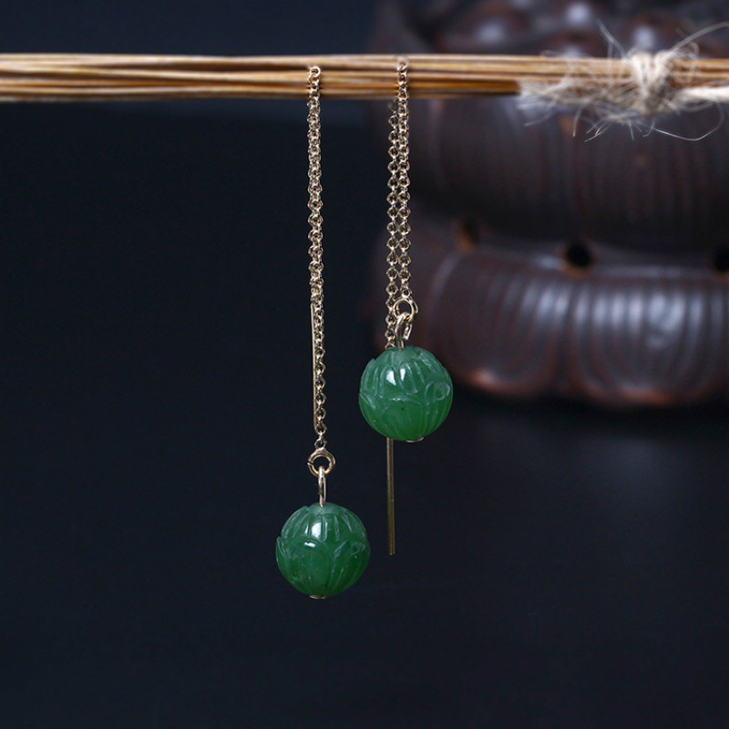 Flyleaf Brand Green Natural Stone Bead Lotus Flowers Pattern Drop Earrings For Women Elegant Lady Chinese Elements Jewelry pair of elegant faux gem bead water drop earrings for women