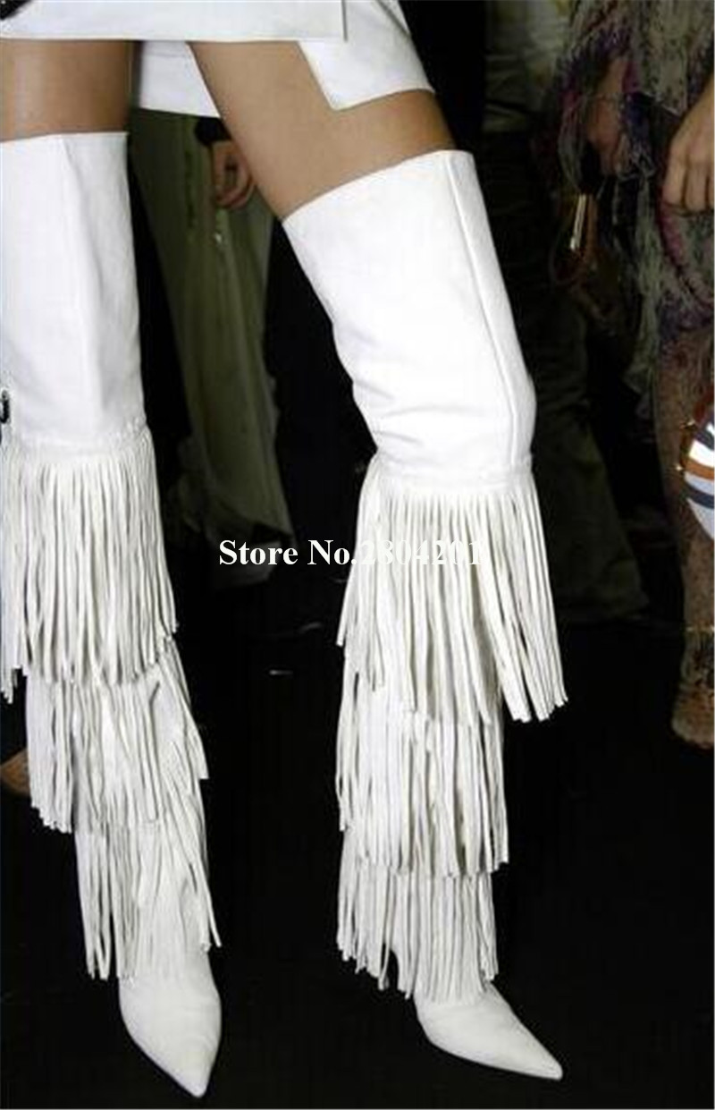 Women Charming Design Long Tassels Pointed Toe Over Knee Thin Heel Boots White Black Fringes Thigh Long High Heel Boots ClubWomen Charming Design Long Tassels Pointed Toe Over Knee Thin Heel Boots White Black Fringes Thigh Long High Heel Boots Club