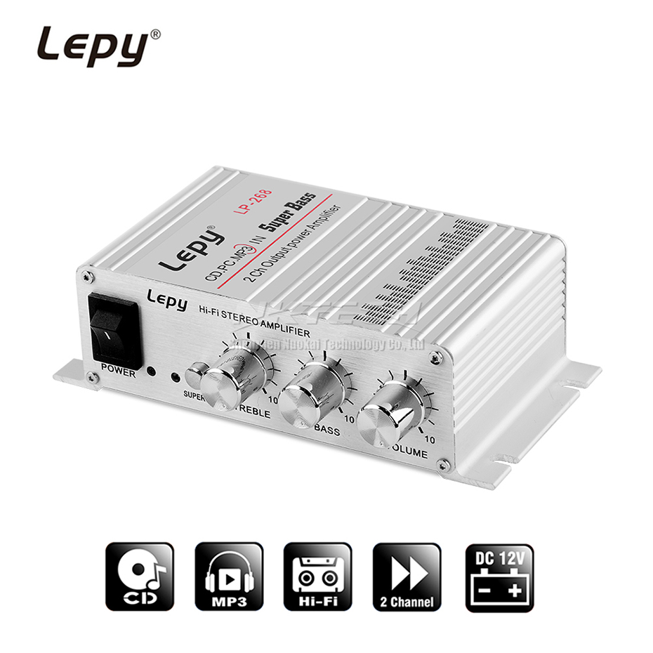 LP-268 Lepy MINI Power Amplifier Digital Player 2CH 15W HiFi Stereo Audio For MP3 MP4 PC IN Car Home Support FM Radio Super Bass