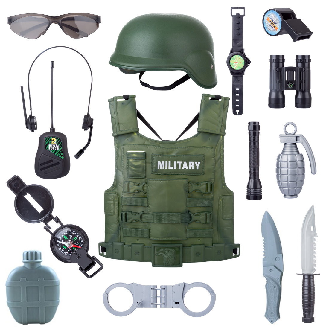 Hot 14Pcs Children Pretend Play Toys Sets Police Army War Role Play Military Combat Playset Creative Kids Boy Action Toys Gifts