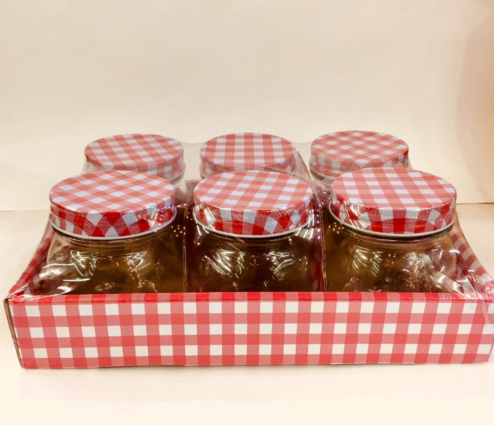 Set of 12PC Glass Mason Jars with Red Checked Lids,Jam, Jelly ...