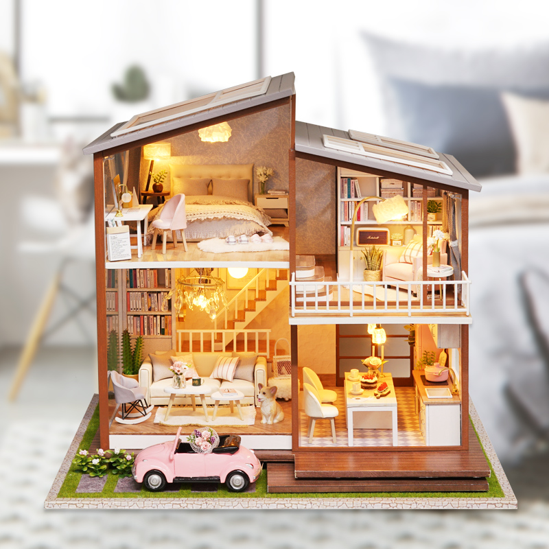 New Doll House Toy Miniature Wooden Doll House Loft With: Cute Families House Miniature Dollhouse Slow Time Loft