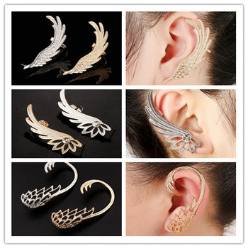 WLP Brand jewelry 2017 new gold silver wing earring for women Europe simple wing ear clip earrings Exaggerated punk ear cuff золотые серьги по уху