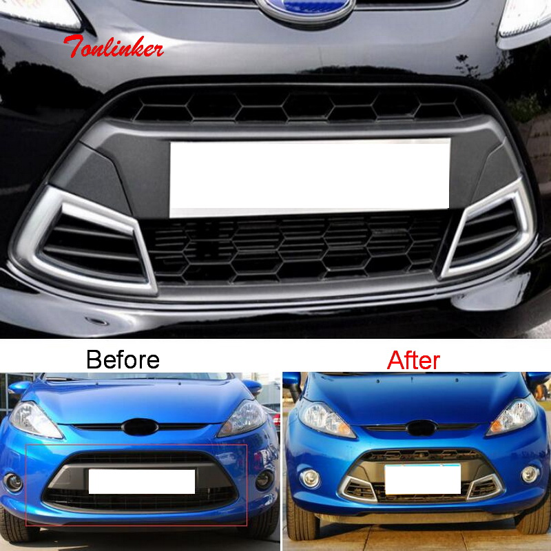 Tonlinker Front Racing Grills Cover Case Stickers For Ford Fiesta Hatchback/sender 2009-12 Car Styling 1 PCS ABS Plastics Covers