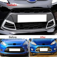 Tonlinker Front Racing grills Cover case stickers for Ford Fiesta hatchback/sender 2009 12 Car styling 1 PCS ABS Plastics Covers