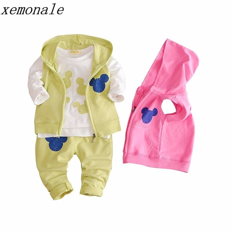 2018 New Spring Autumn Baby Girls Clothing Kids Suits Cotton Infant Clothes Toddler Warm Hooded Vest And T-shirt Pants 3pcs Sets