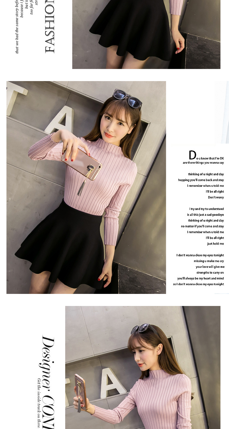 19 Autumn and winter New Korean Half turtleneck Sweater jacket Womens Long Sleeve Set head All-match knitted Sweater woman 10