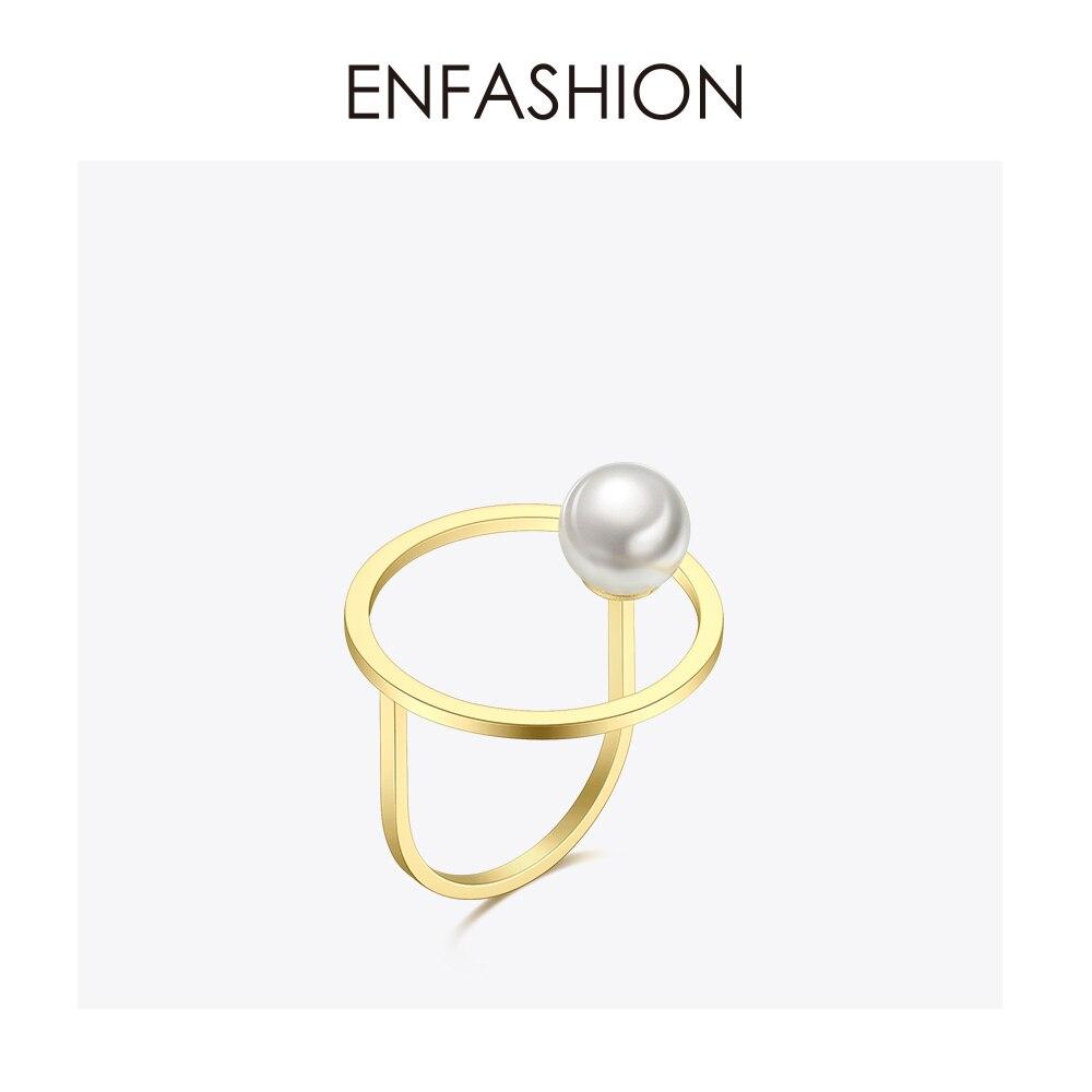 Enfashion Perle Kreis Ringe Für Frauen Gold Farbe Edelstahl Dame Ring Urlaub Mode Schmuck 2019 Anillos Mujer Rb184007