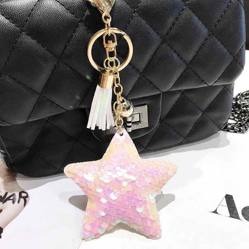 Llavero con borla de estrella brillo pompón lentejuelas llavero regalos para mujeres Llaveros Mujer bolso de mano accesorios llavero Chaveiro