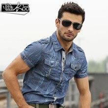 2017 männer shirt kurzarm jeanshemd mens beiläufige jean hemden sommer dünne baumwolle t-shirt-marke clothing a916