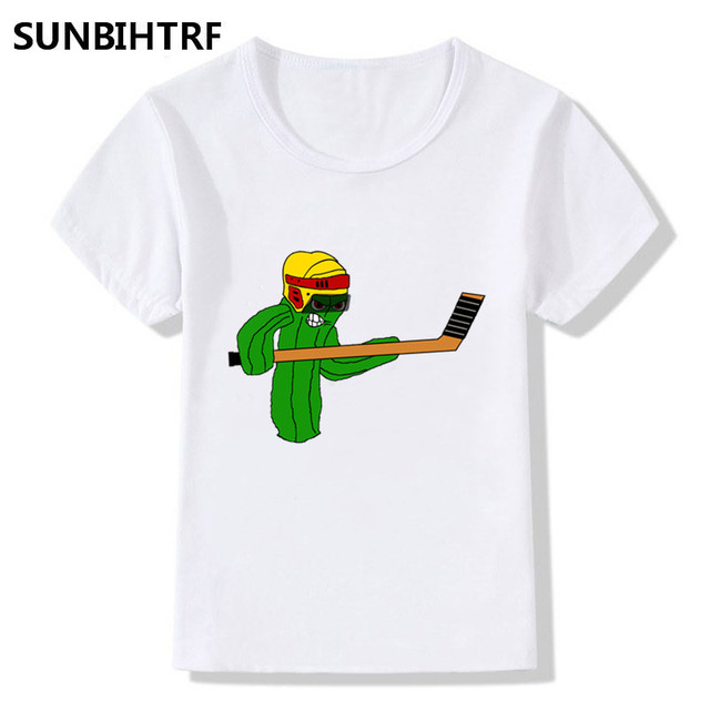 f6159cc47 2018 Cactus Playing Hockey Cartoon Print Funny T shirt Baby Big Girls Boys  Short Sleeve Summer Tops Casual Kids Clothes