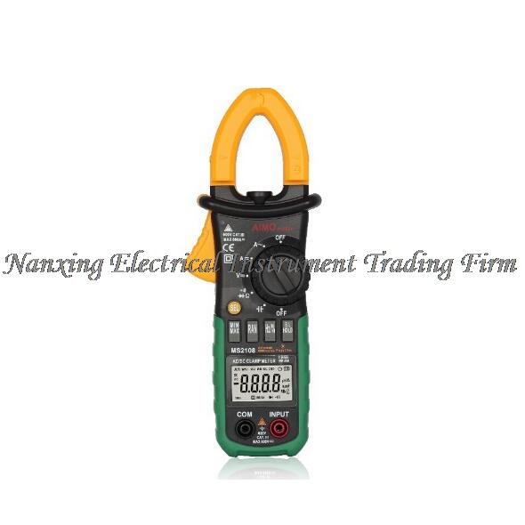 Mastech MS2108 Digital Clamp Meter True RMS LCD Multimeter AC DC Voltmeter Ammeter Ohm Herz. Duty Cycle 6600 counts aimometer ms2108 true rms ac dc current clamp meter 6600 counts 600a 600v