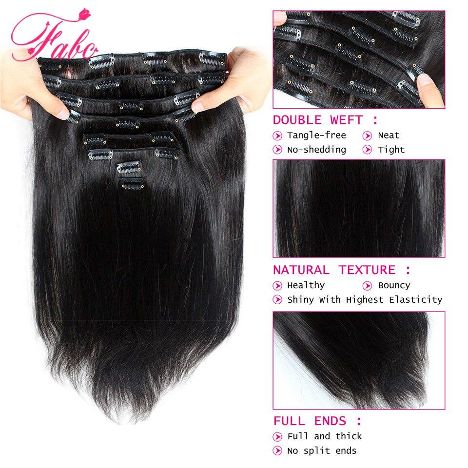 Fabc Hair Brazilian Straight Hair Clip In Human Hair Extensions