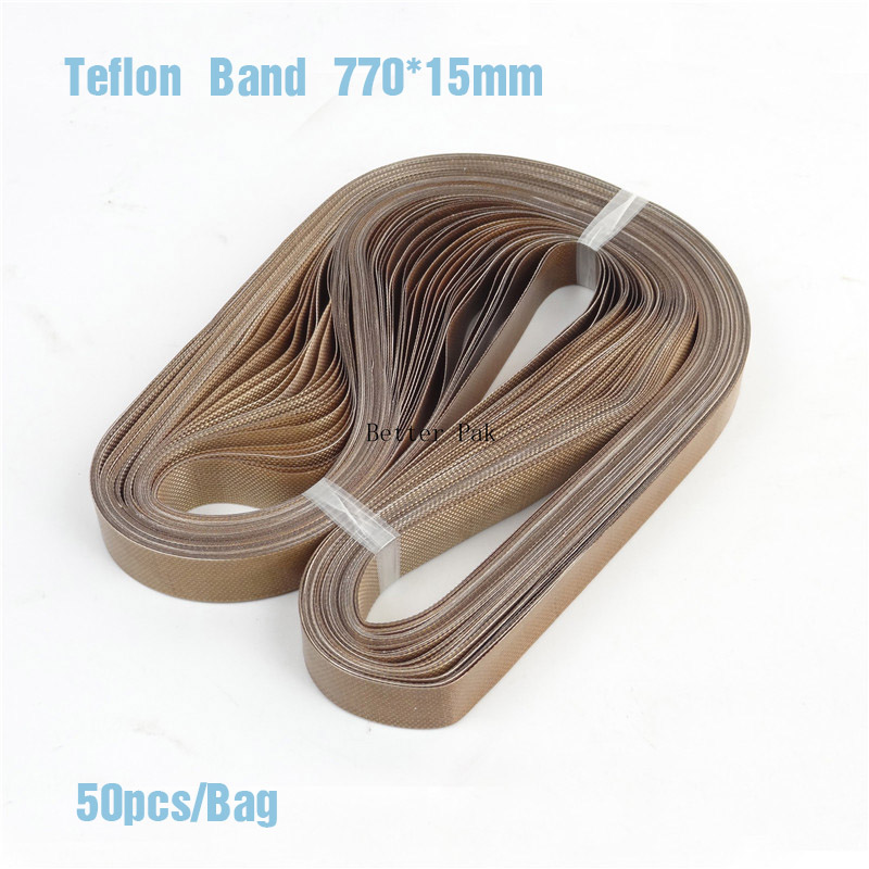 FR-770 Band sealer teflon belt,size 770*15mm for Continuous Band Sealer Solid ink band sealer,50pcs/bag,high temperature tape automatic bag sealing machines
