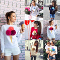 2016 Promotion O-neck Full Cardigans Cotton Wool Gradient New Fashion Women Casual Ice Cream Pattern Sleeve Sweater Hoodie
