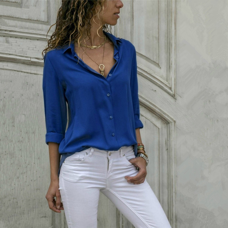 Fashion Turn-down Collar Office Lady Tops Solid Long Sleeve Thin Summer Women Blouse Plus Size Slim Casual Blusas Chiffon Shirt