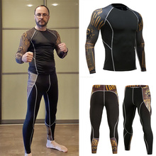 Mens Sports Shirts Long sleeve Tops+Running Leggins 2 Piece Tracksuit Men Compression Tights Rash gard Male kit Sportswear 4XL