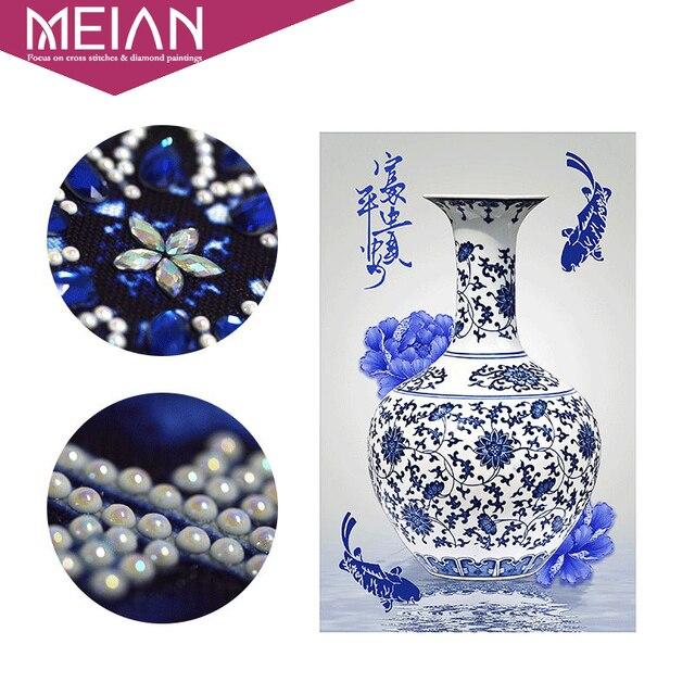Meian-peinture au Diamant | Broderie spéciale en Diamant, porcelaine bleue et blanche, mosaïque en Diamant, image de perle, décoration en Diamant pour la maison