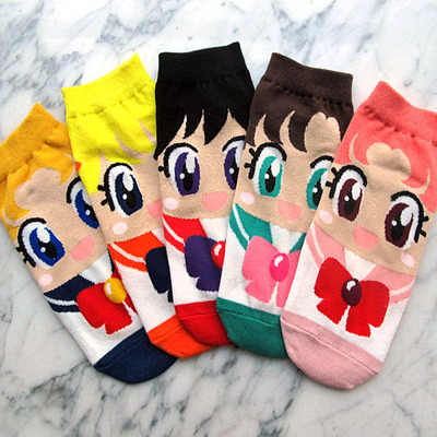 Sailor Moon Mercury Mars Jupiter Venus Cute Cartoon Socks Spring Summer Casual Women's Fashion Cotton Sneaker Socks One Set