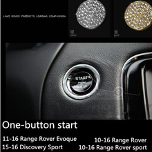 alloy diamond Chrome Car Engine Starter Ring Trim Stickers Parts For Land Rover Range Rover Evoque Freelander Discovery car roof light a c volume knobs rear air outlet ring trim for land rover discovery 4 range rover sport freelander 2 accessories